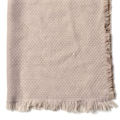 Cream Colour Chain Pattern Scarf with Fringes (Size 180x65 Cm)