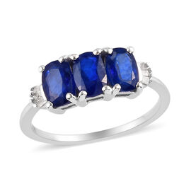 Tanzanian Blue Spinel and White Diamond Ring in Platinum Overlay Sterling Silver 1.95 Ct.