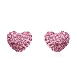 Pink Austrian Crystal (Rnd) Heart Stud Earrings in Rhodium Overlay Sterling Silver
