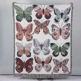 100% Cotton JACQUARD WOVEN Butterfly Print Thrrow with Fringes (Size - 150X125 Cm) - Off White & Mul