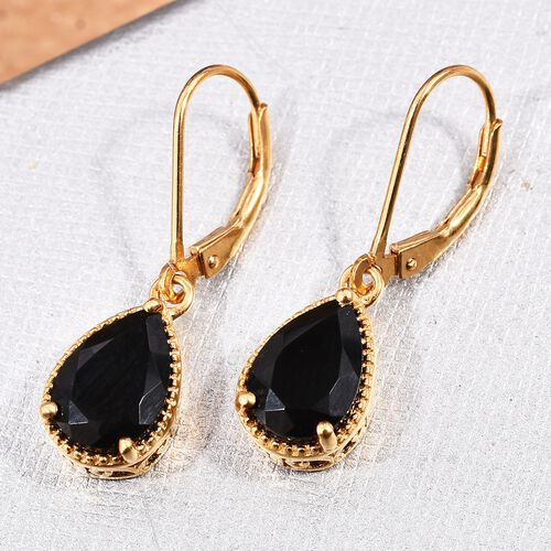 Black Tourmaline (Pear) Lever Back Earrings in 14K Gold Overlay Sterling Silver 3.500 Ct.