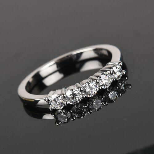 RHAPSODY 950 Platinum IGI Certified Diamond (Rnd) (VS/E-F) Band Ring 0.500 Ct.