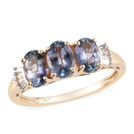 14K Yellow Gold Peacock Tanzanite (Ovl), Diamond Ring 1.55 Ct.