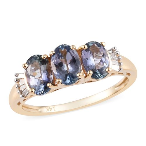 1.55 Ct AA Peacock Tanzanite and Diamond Trilogy Ring in 14K Yellow Gold 2 Grams