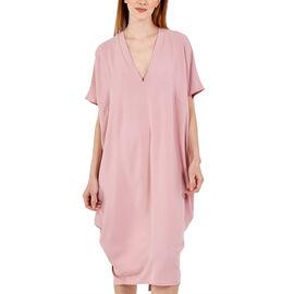 Nova of London Oversized V-Neck Back Slit Detail Midi Dress in Pink