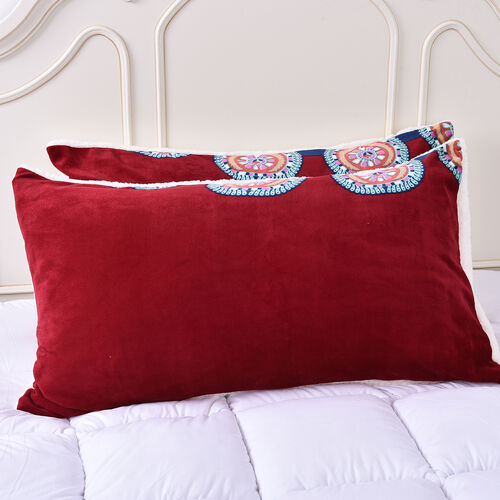 Set of 3 - Microflannel Mandale Printed Comforter in King Size with Sherpa Lining with 2 Sherpa Pillowcases - Red and Multi Colour (230cm x 250cm)