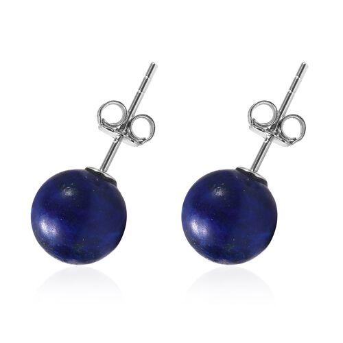 Lapis Lazuli (Rnd) Earrings in Rhodium Overlay Sterling Silver 9.00 Ct.