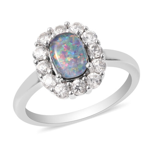 One Time Deal - Australian Boulder Opal and Natural Cambodian Zircon Ring in Rhodium Overlay Sterlin