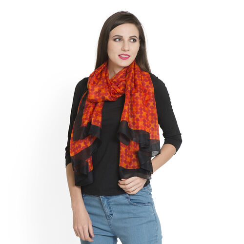100% Mulberry Silk Maroon and Red Colour Polka Dots Pattern Black and Orange Colour Digital Printed