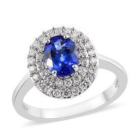 RHAPSODY 950 Platinum AAAA Tanzanite (Ovl 8x6 mm), Diamond (VS/E-F) Ring 2.00 Ct, Platinum wt 7.50 G