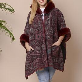 Wine Red Colour Faux Fur Hat Cape with Cashew Flower Pattern  (Size 124.46 x 78.74 Cm)