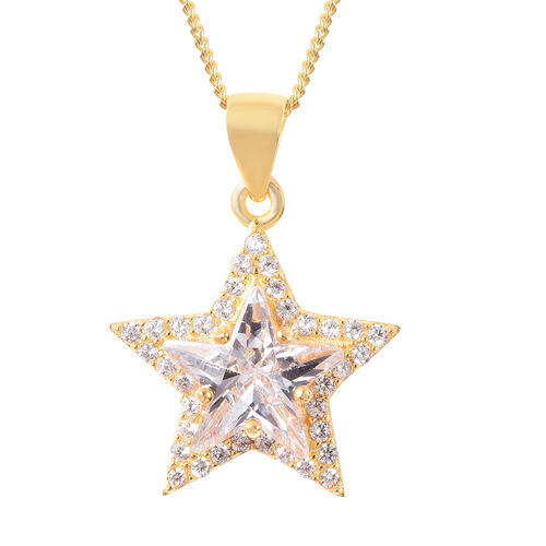 ELANZA Simulated Diamond Star Pendant With Chain (Size 18) in Yellow Gold Overlay Sterling Silver