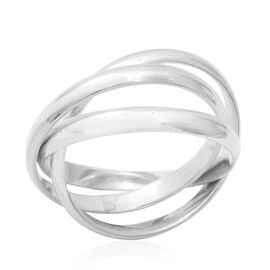 Limited Edition- Designer Inspired Sterling Silver Trinity Band Ring, Silver wt 5.65 Gms