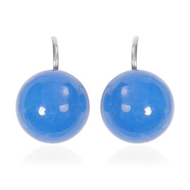 Blue Jade Bead Hook Earrings in Silver Tone 38.50 Ct.
