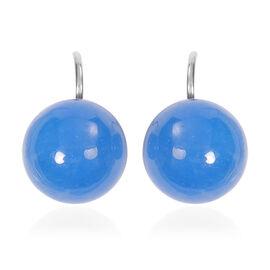Blue Jade Bead Hook Earrings in Silver Tone 38.50 Ct.