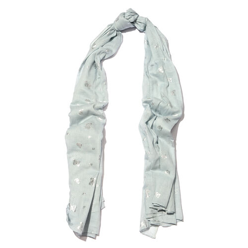 New for Season - 100% Cotton Pale Blue and Silver Colour Butterfly Pattern Scarf (Size 180x110 Cm)