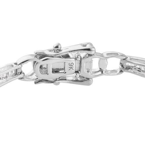 9K White Gold SGL Certified Diamond (Bgt) (I2-I3/G-H) Bracelet (Size 7.5) 1.000 Ct, Gold wt 6.01 Gms,