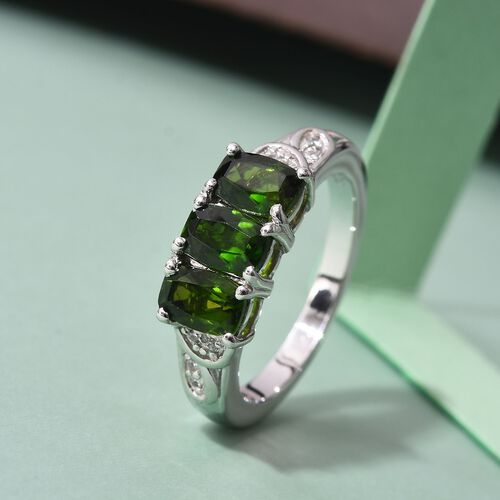Russian Diopside and Natural Cambodian Zircon Ring in Platinum Overlay Sterling Silver 1.90 Ct.