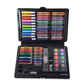 Set of 109 Piece Painting Set Box Including (Crayons, Clips, Pencils, Water Colour, Oil Pastels, Pens, Sharpener, Eraser, Palette, Painting Brush Scissors and Liquid Glue)