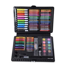 Set of 109 Piece Painting Set Box Including (Crayons, Clips, Pencils, Water Colour, Oil Pastels, Pen