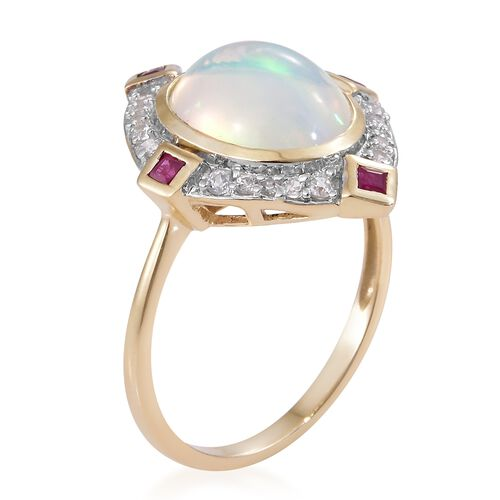 9K Yellow Gold AAA Very Rare Size Ethiopian Welo Opal (Ovl 12x10mm), Burmese Ruby and Natural Cambodian Zircon Ring 3.000 Ct.