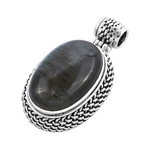 Royal Bali Collection - Labradorite (Ovl 30x20mm) Pendant in Sterling Silver 42.00 Ct, Silver wt 13.70 Gms