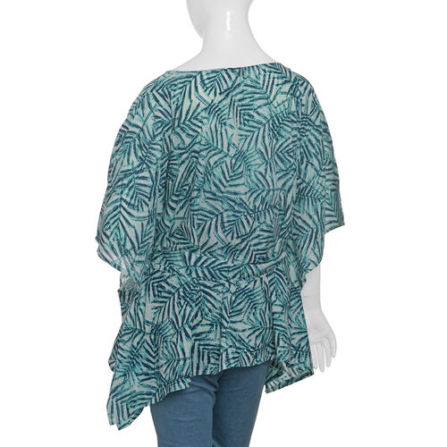 Green and Multi Colour Leaves Pattern Apparel (Size 65 Cm)