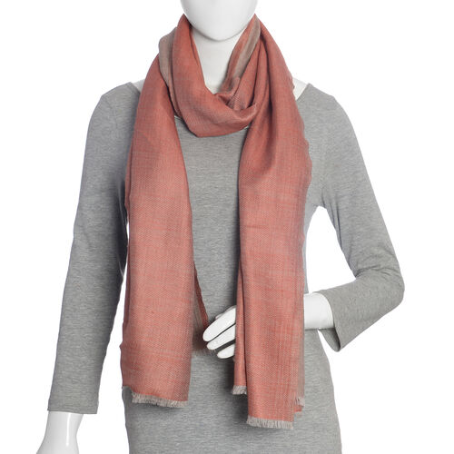 100% Cashmere Wool Red and Grey Colour Scarf with Fringes (Size 200X70 Cm)