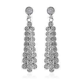 0.50 Ct Diamond Chandelier Earrings in Platinum Plated Sterling Silver 7.10 Grams