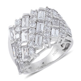 Natural Cambodian Zircon (Rnd), Lolite Ring in Rhodium Overlay Sterling Silver 3.324 Ct. Silver Wt. 8.40 Gms