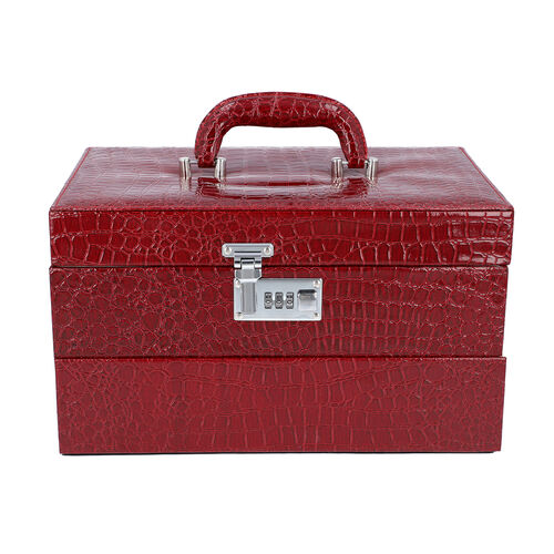 Three Layer Crocodile Skin Pattern Jewellery Box with Inside Mirror and Coded Lock (Size 33x21x19cm)- Wine Red