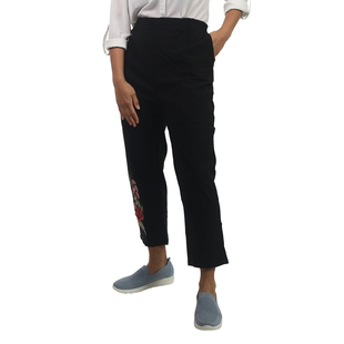 Pure and Natural Fully Elasticated Waist Trousers with Flower in Black