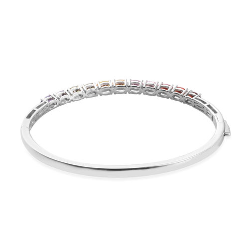 Simulated Peridot and Multi Gemstone Bangle (Size 7.5) in Platinum Plated 6.50 Ct.
