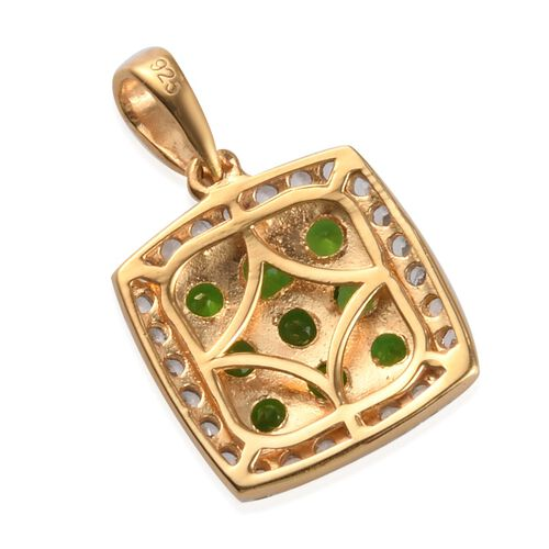 Russian Diopside and Natural Cambodian Zircon Cluster Pendant in 14K Gold Overlay Sterling Silver 1.55 Ct.