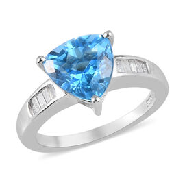 Swiss Blue Topaz and Diamond Ring in Platinum Overlay Sterling Silver 3.00 Ct.
