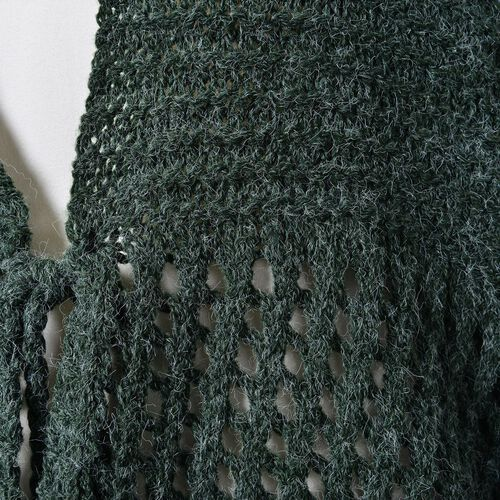 Green Colour Crochet Pattern Knitted Cardigan (Size 130X58 Cm)