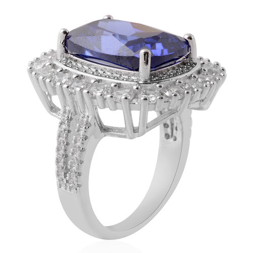 Lustro Stella Simulated Tanzanite (Cush), Simulated Diamond Ring in Rhodium Overlay Sterling Silver, Silver wt 6.86 Gms