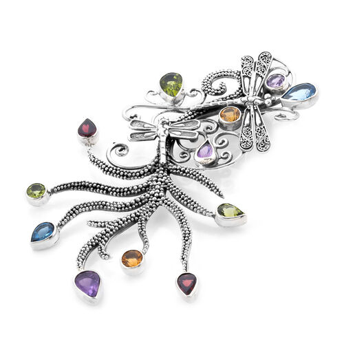 Bali Legacy Collection - Amethyst, Hebei Peridot and Multi Gemstone Dragonfly Pendant in Sterling Silver 9.55 Ct, Silver wt 21.20 Gms
