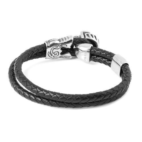 Stainless Steel and Genuine Leather Fancy Skull Bracelet (Size 8.5)