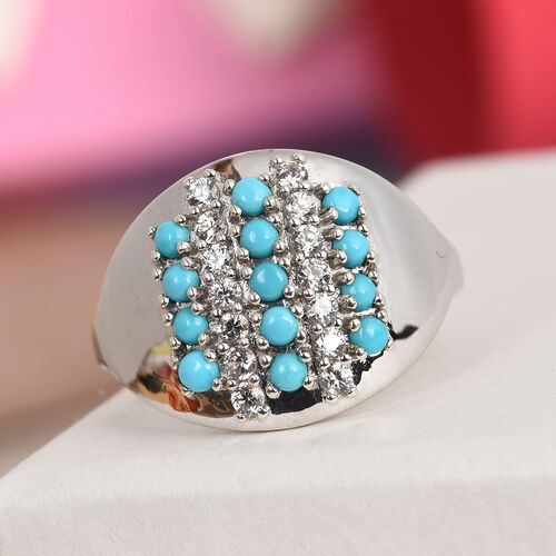 Arizona Sleeping Beauty Turquoise and Natural Cambodian Zircon Ring in Platinum Overlay Sterling Silver 1.00 Ct, Silver wt 5.08 Gms