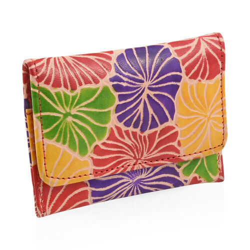 3 Piece Set - 100% Genuine Leather Multi Colour Hand Painted Card Holder (12x8 Cm), Coin Pouch (10x4 Cm) and Keyring (4 Cm)