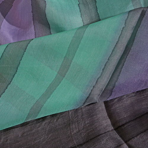 100% Mulberry Silk Green, Purple and Multi Colour Hand Screen Stripes Printed Scarf (Size 180X50 Cm)