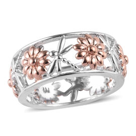 Dragonfly Floral Band Ring in Platinum and Rose Gold Plated Sterling Silver