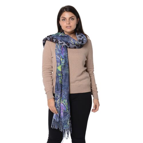 Reversible Digital Printed Leopard and Butterfly Pattern Scarf with Tassel (Size 70x180 Cm) - Grey and Multi