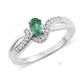 Show Stopper - Premium Santa Terezinha Emerald (Ovl), Natural Cambodian Zircon Ring in Platinum Overlay Sterling Silver 0.500 Ct.