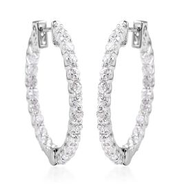 Lustro Stella Simulated Diamond (Rnd) Inside-Out Earrings (with Clasp) in Rhodium Overlay Sterling S