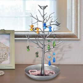 Antique Birds on Tree Stand Jewellery Holder Display in Silver Colour