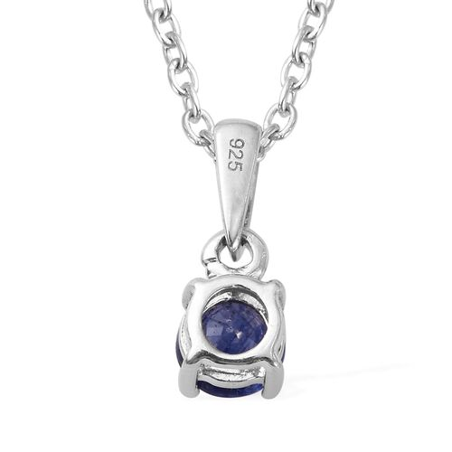2 Piece Set - Masoala Sapphire Stud Earrings and Pendant with Chain (Size 18) in Platinum Overlay Sterling Silver 2.25 Ct.