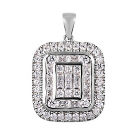 J Francis Platinum Overlay Sterling Silver Cluster Pendant Made with SWAROVSKI ZIRCONIA 3.88 Ct.