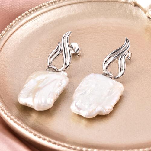 Baroque Pearl Drop Earrings in Rhodium Overlay Sterling Silver